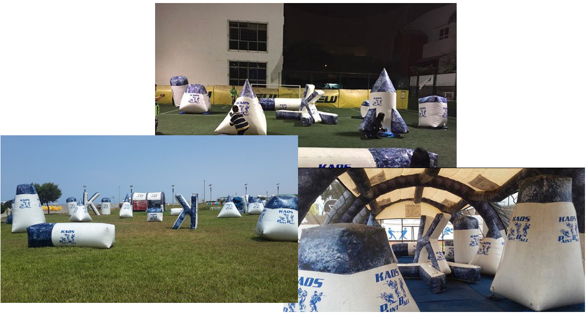 Kaos inflatable bunkers collage